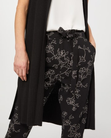 Paper Bag Waist Printed Ankle Pants with Sash