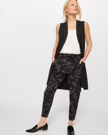 Pantalon à la cheville imprimé à taille froncée