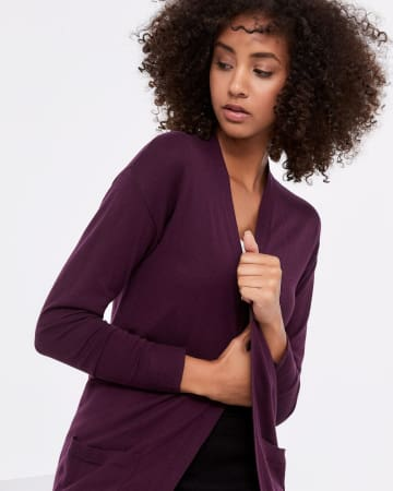 R Essentials Open Cardigan with Pockets