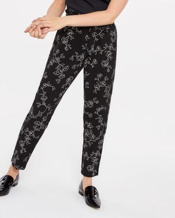 Pantalon imprimé à taille froncée skinny Petite