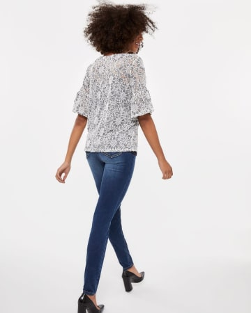 Two-Tone Lace Flutter Sleeve Top