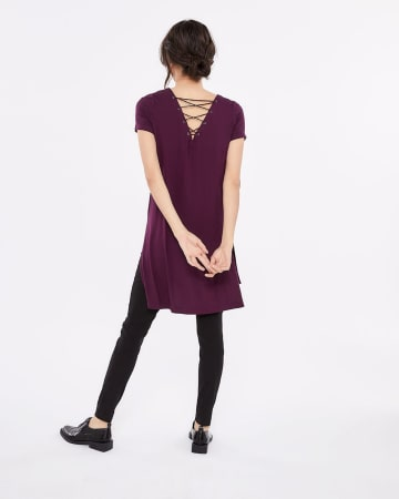 Lace-Up Back Tunic Top