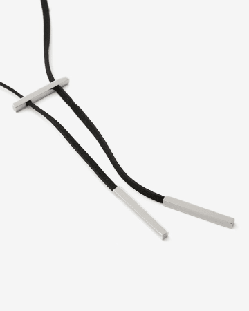 Faux Suede Metal Bar Necklace
