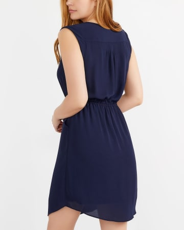 Sleeveless Elastic Waist Solid Dress