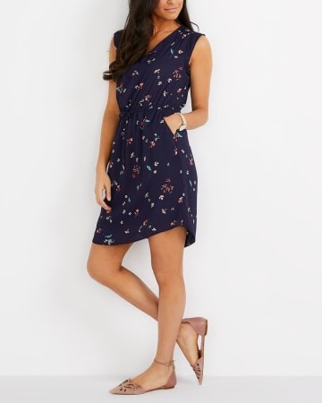 Elastic Waist Sleeveless Printed Dress