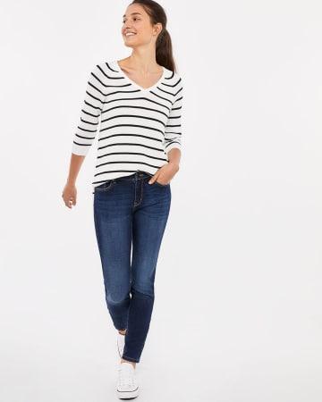 Le Jeans Sculptant bleu-noir skinny Long