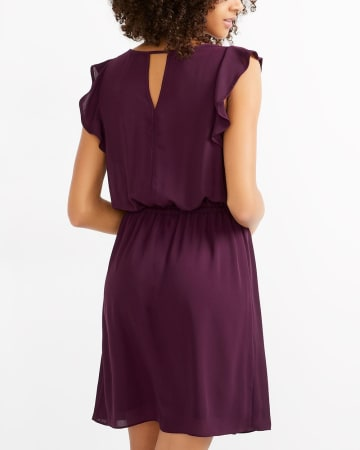 Ruffle Sleeve Solid Dress