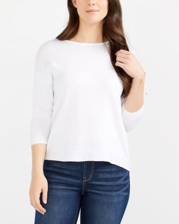 ¾ Sleeve Solid Sweater