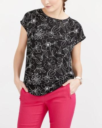 Printed Dolman Sleeve Blouse