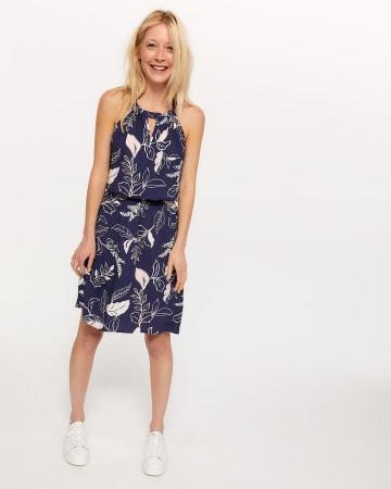 Sleeveless Halter Printed Dress