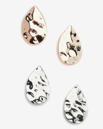 Set of 2 Textured Drop Earrings