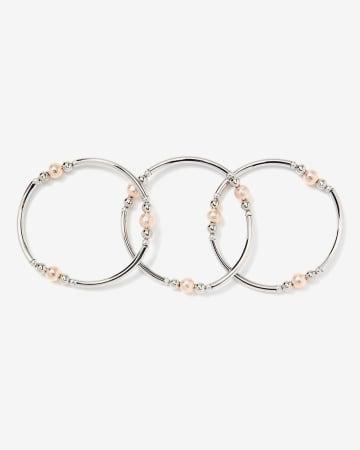 Set of 3 Elastic Bracelets with Beads