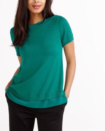 Short Sleeve Mix Media Sweater