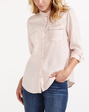 Adjustable Sleeve Solid Shirt