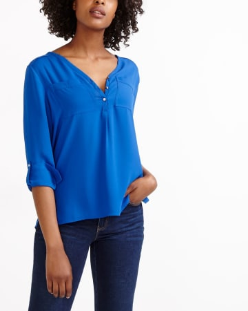 Adjustable Sleeve Solid Blouse