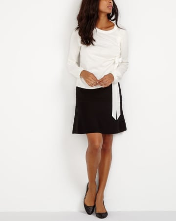 Solid Fit & Flare Skirt
