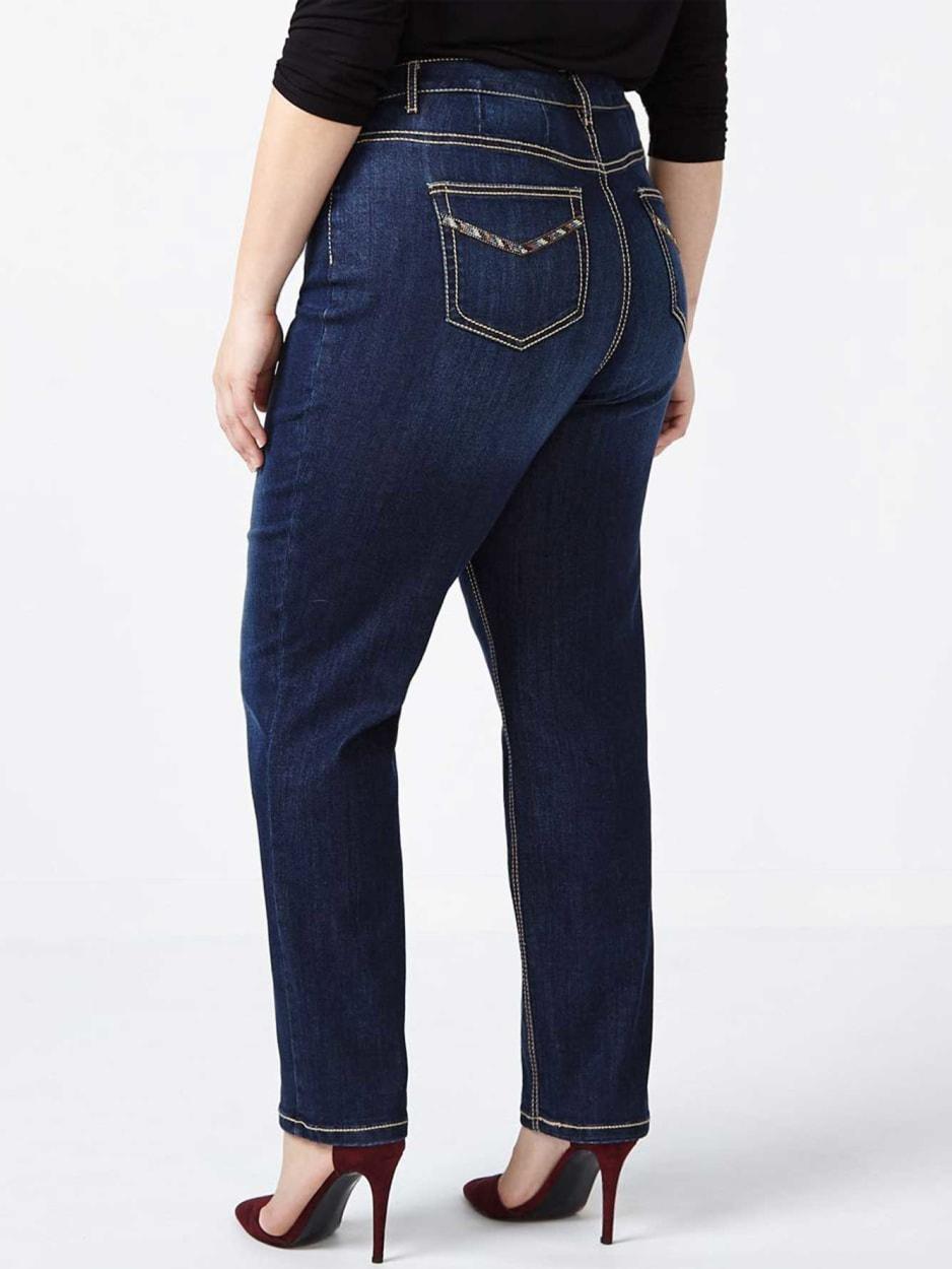 d/c JEANS - Curvy Fit Straight Leg Jean with Rhinestones