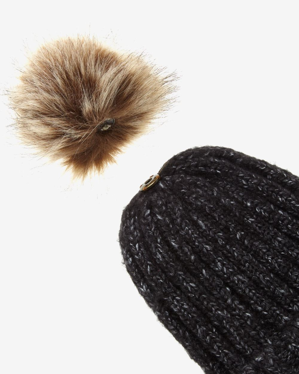 Knit Hat with Removable Pom-Pom