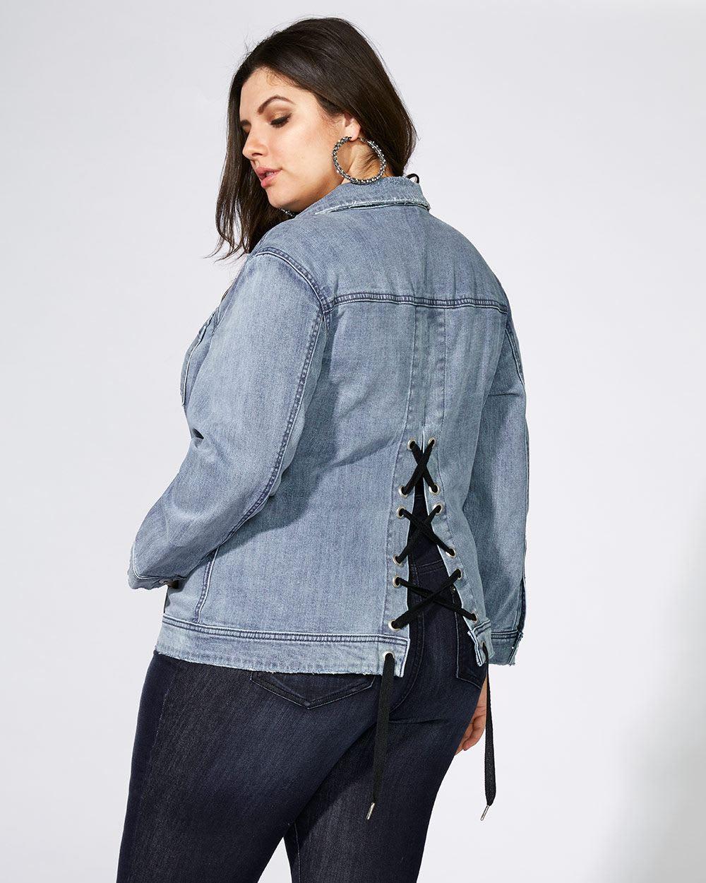 Denim Jacket with Lace-Up Back - mblm