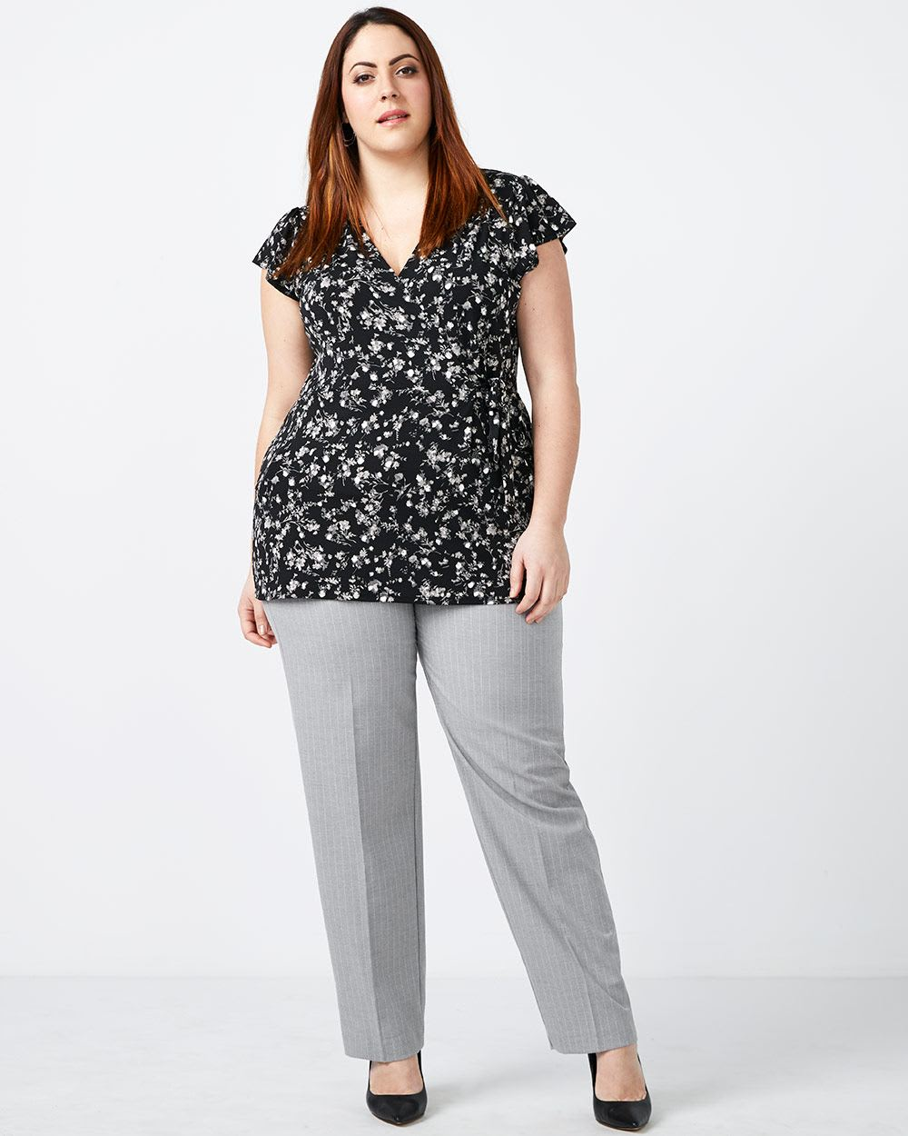 Printed Wrap Top with Tie