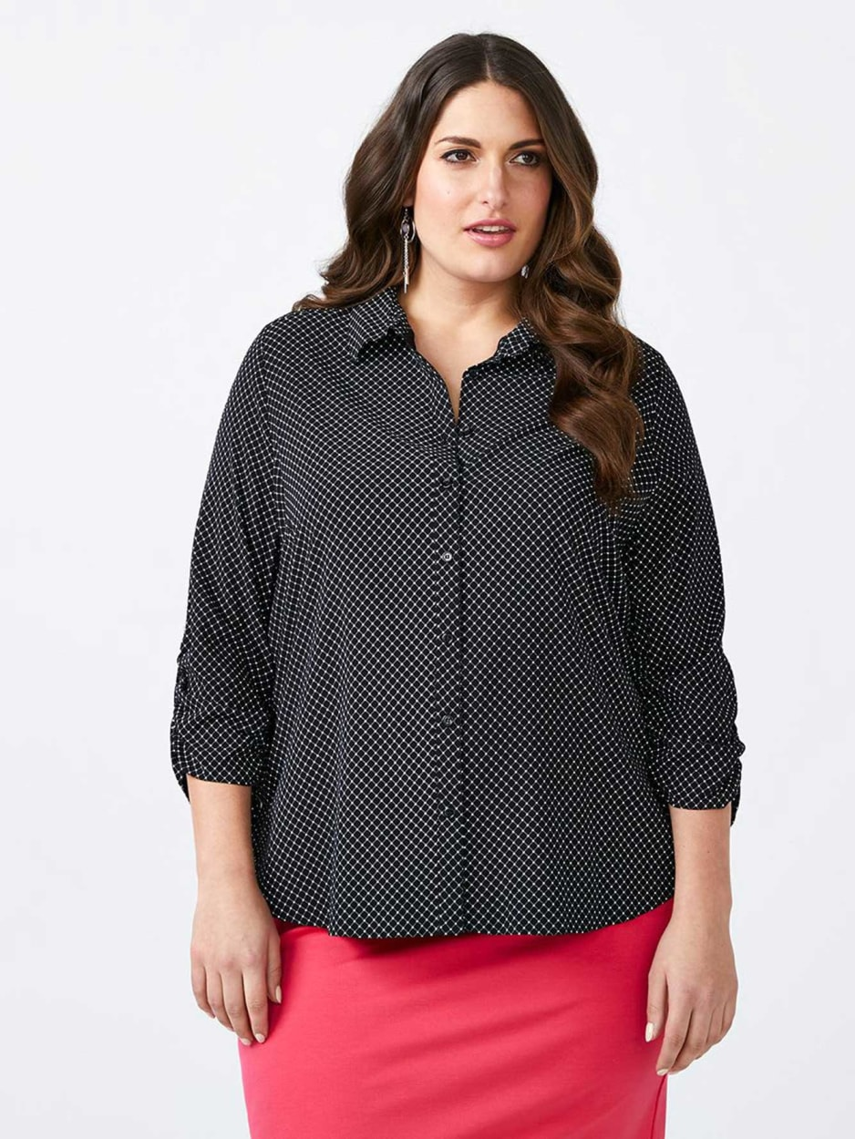 Printed Blouse with Lace-Up Detail - In Every Story
