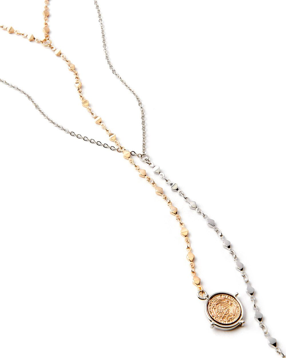 Multi-Row Necklace with Coin Pendant