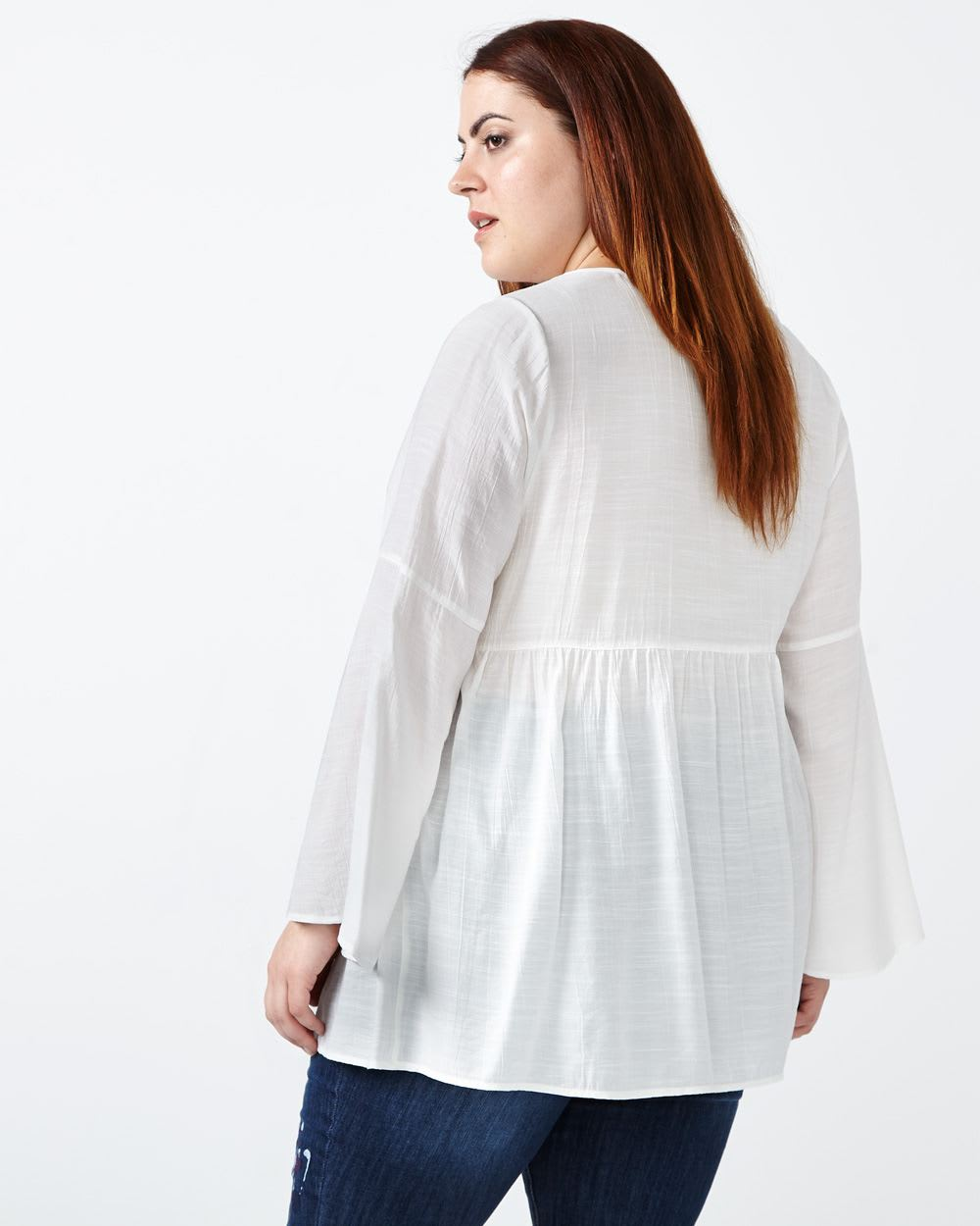 d/c JEANS Bell Sleeve Blouse with Lace
