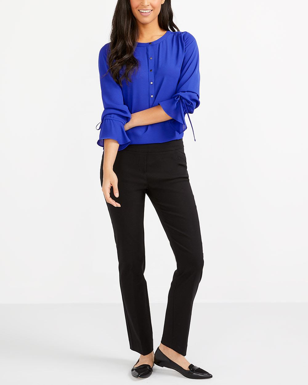 Tie Sleeve Solid Blouse