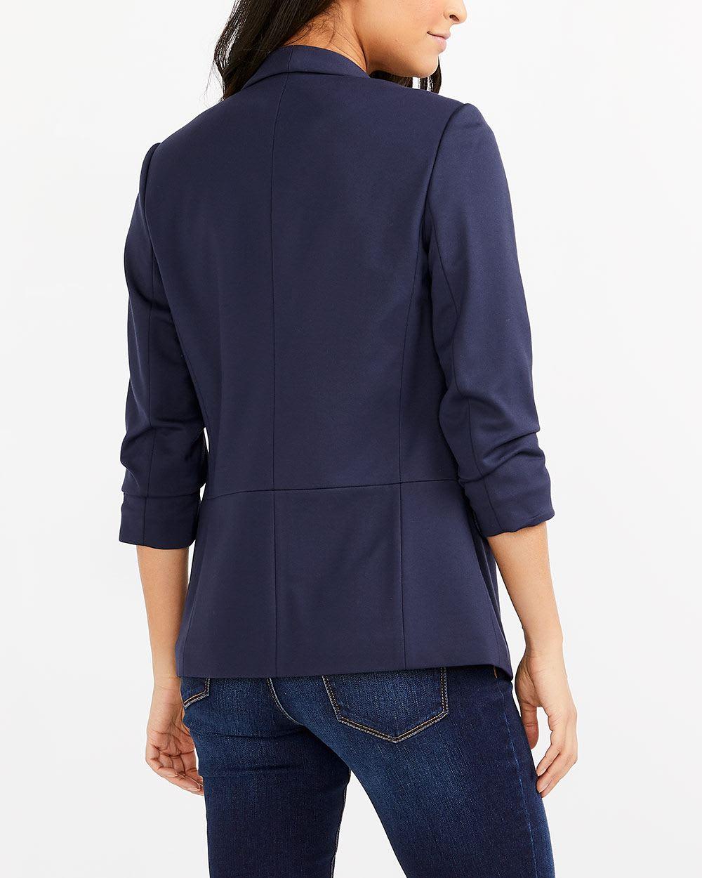 Ruched ¾ Sleeve Open Blazer