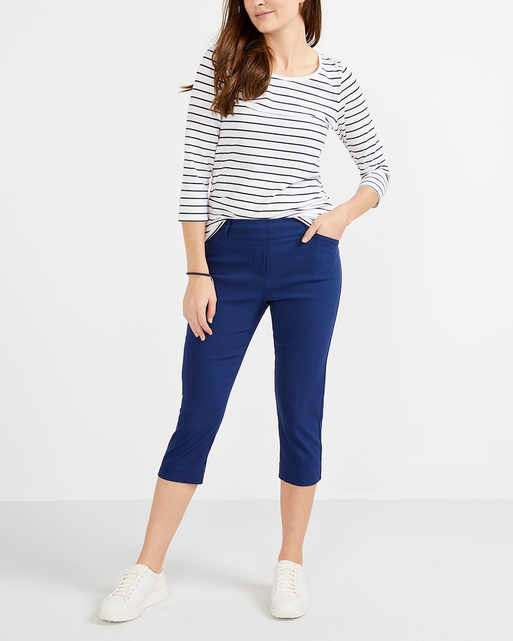 R Essentials ¾ Sleeve Striped Top