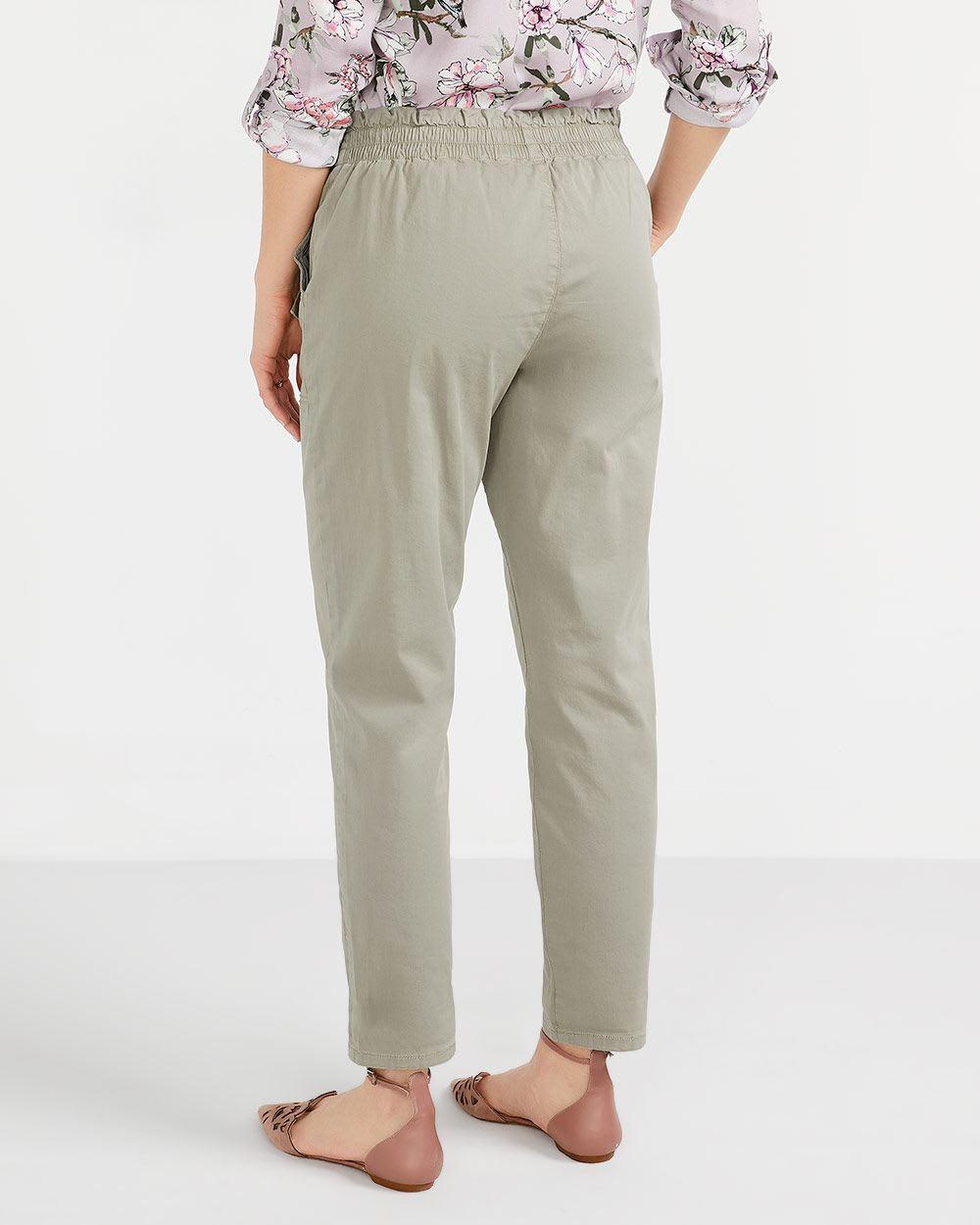 Pantalon à taille froncée skinny Long