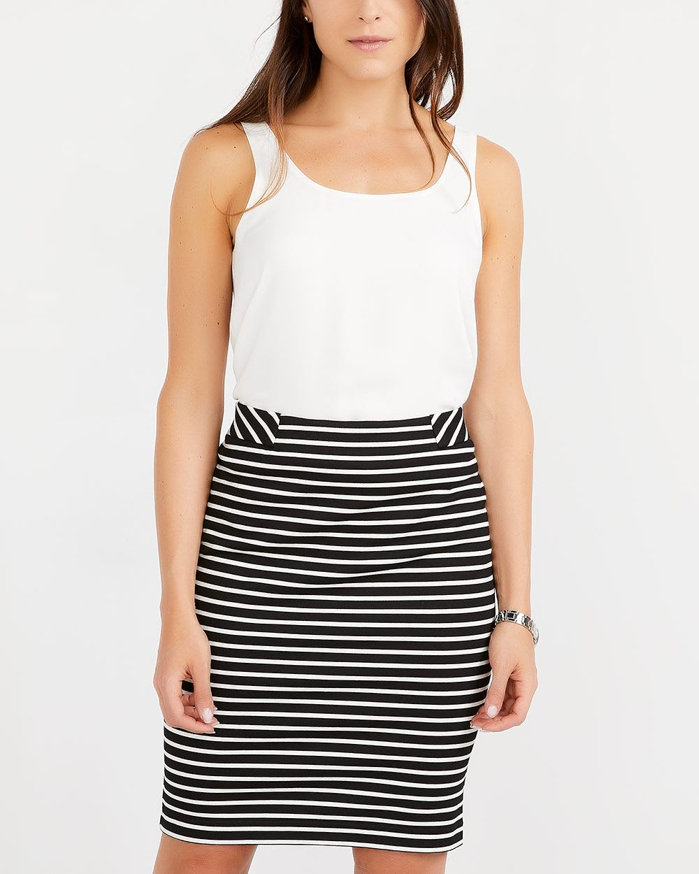 Striped Pull-On Pencil Skirt
