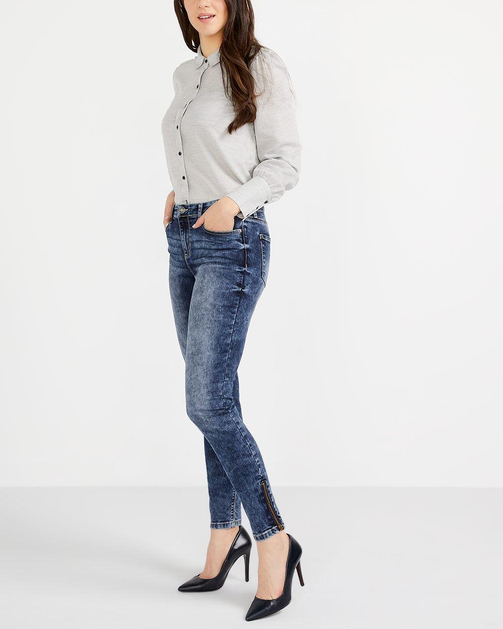 Jeans skinny à ourlet à glissière Long