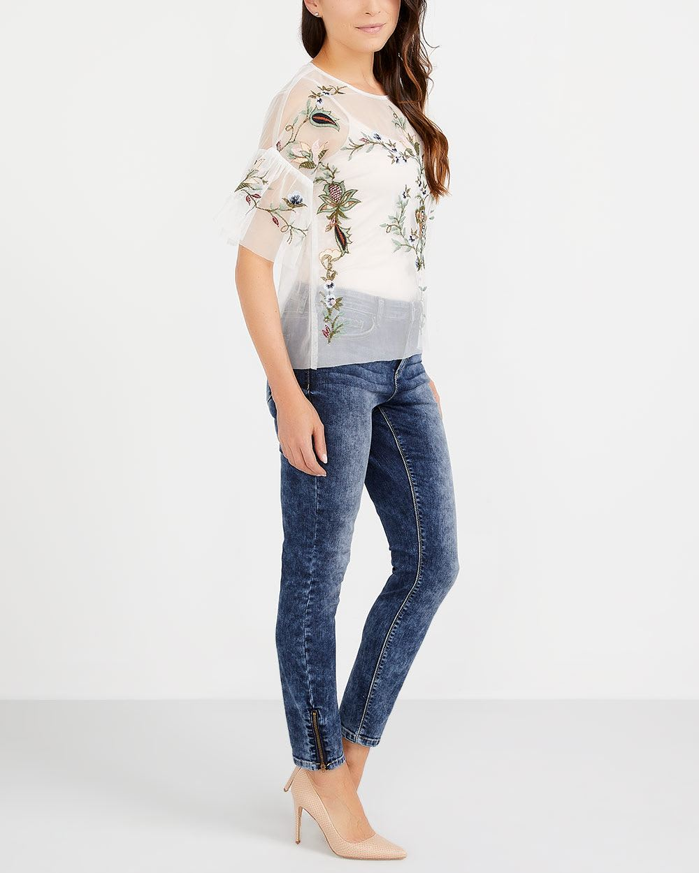 Petite Zip Hem Skinny Jeans