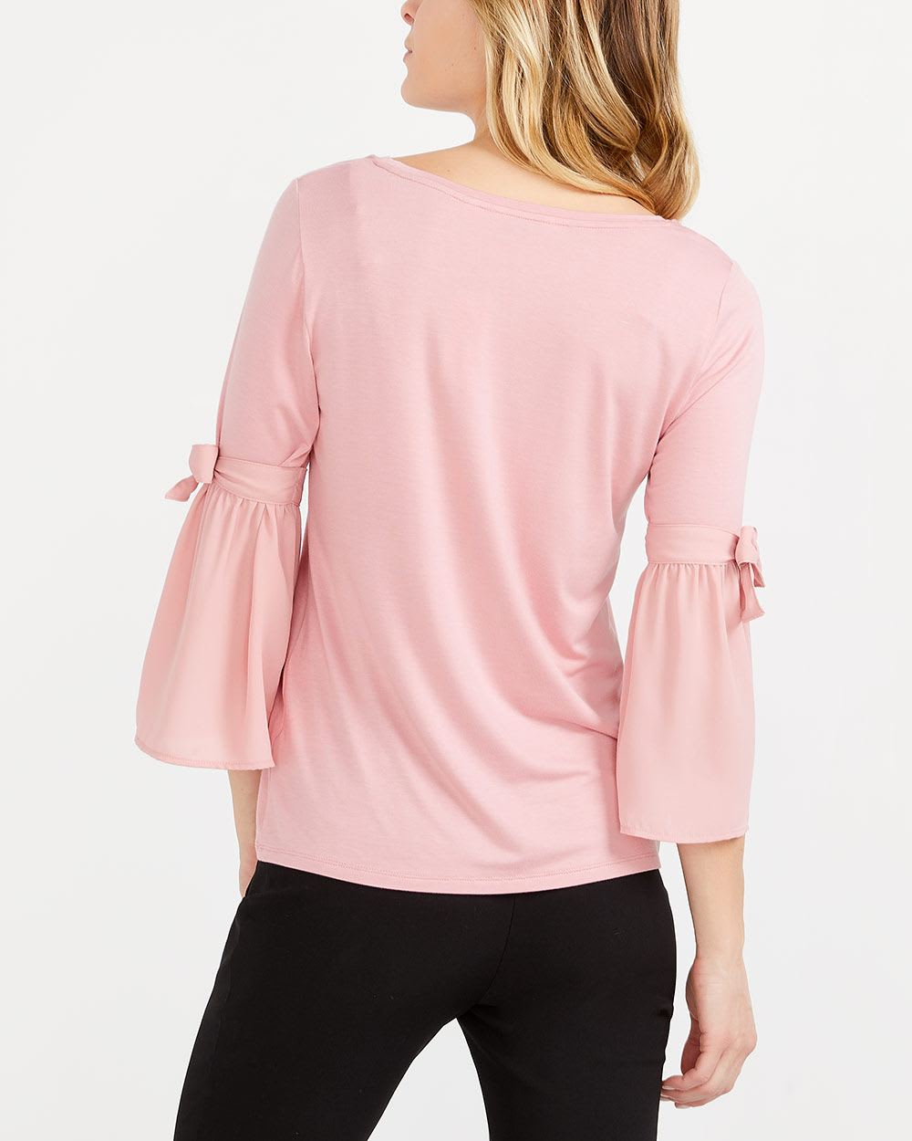 Bow Bell Sleeve Mix Media Top