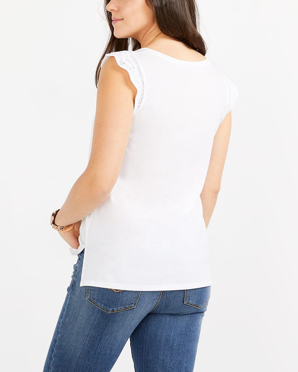 Cap Sleeve Crochet T-Shirt