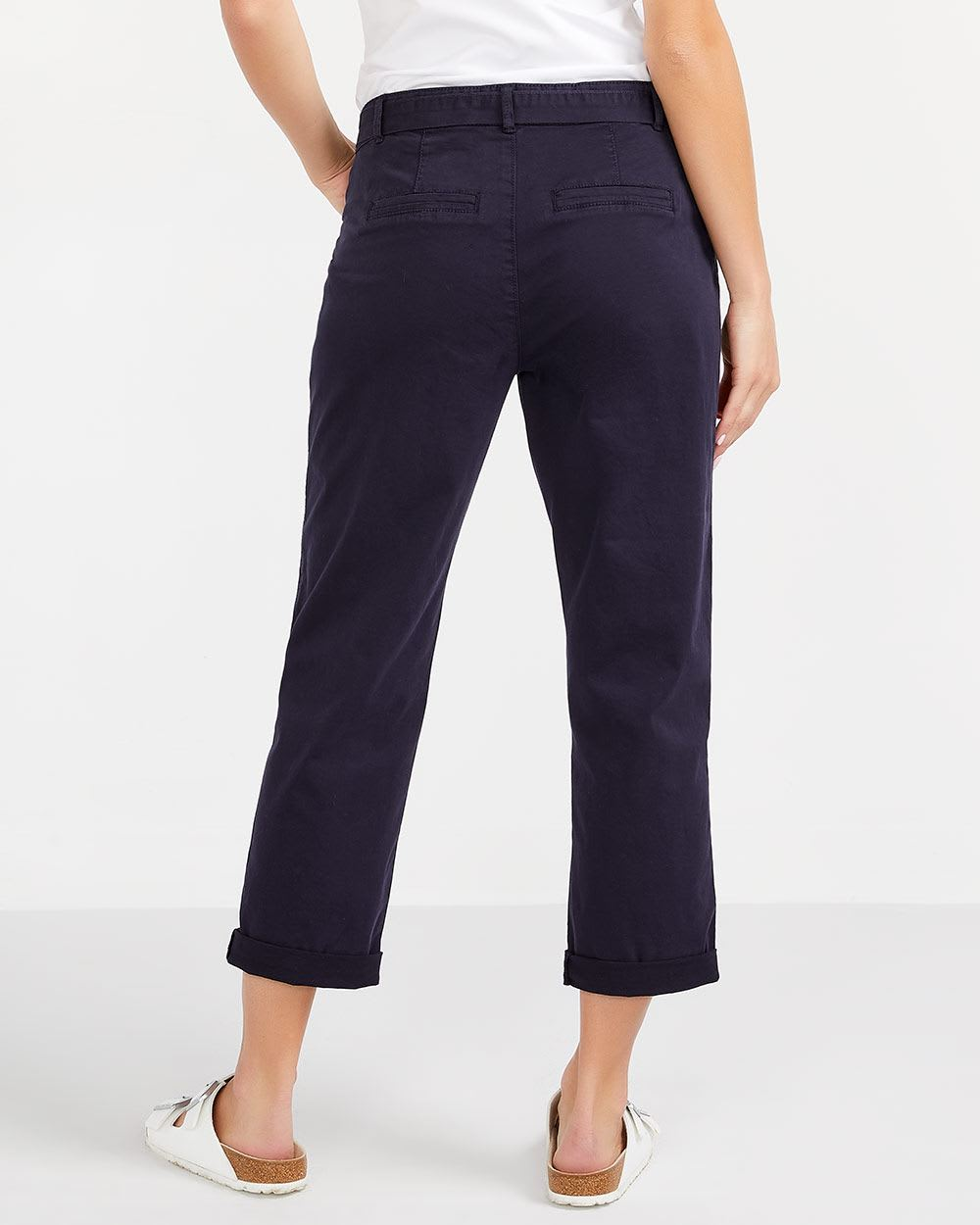 Solid Cropped Chino Pants