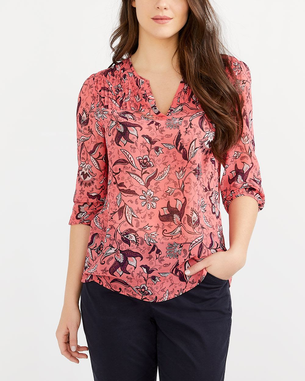 V-Neck Pin Tuck Blouse