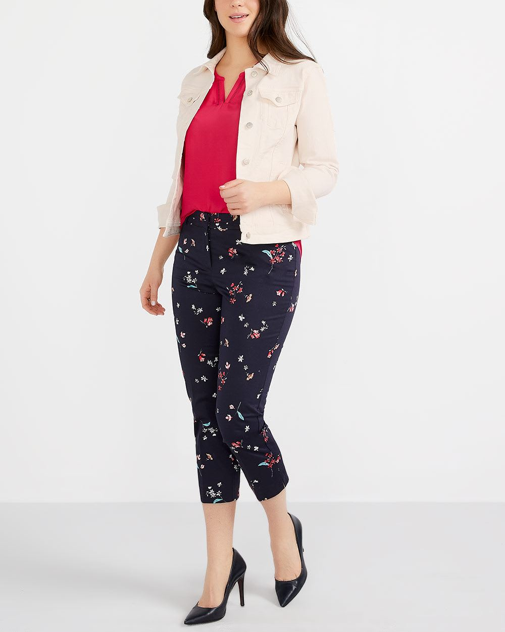 Petite Cotton Blend Printed Cropped Pants