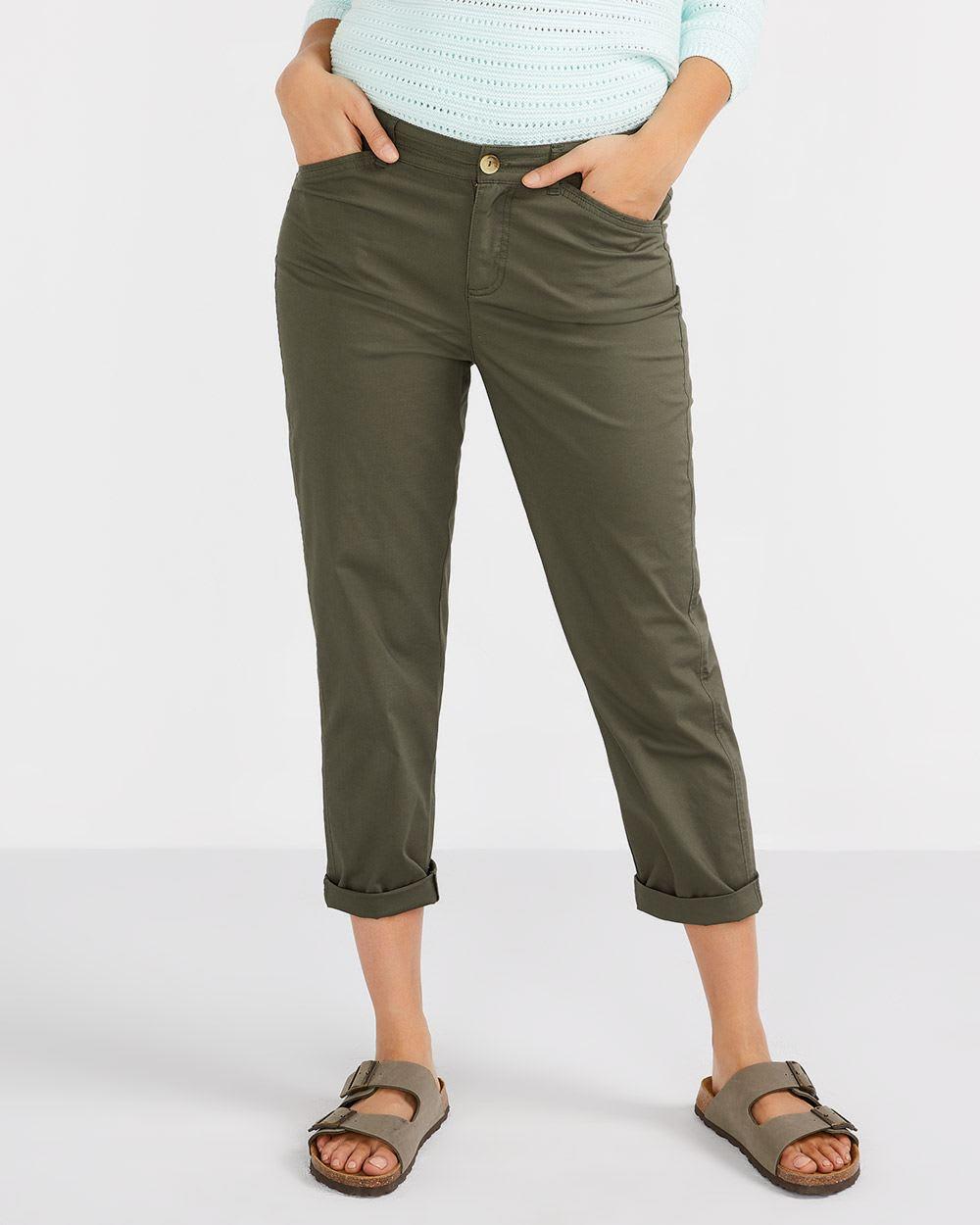 Cotton Blend Cropped Chino Pants