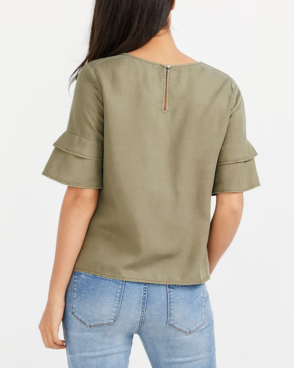 Tier Sleeve Embroidered Blouse
