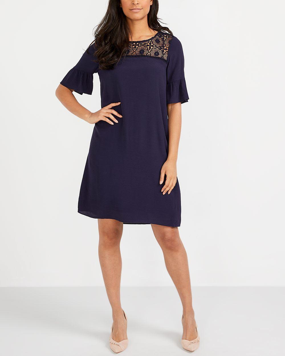 Ruffle Sleeve Crochet Dress