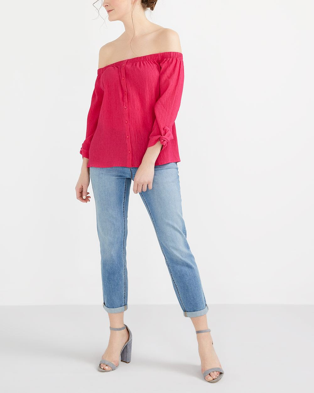 Off-The-Shoulder Solid Blouse