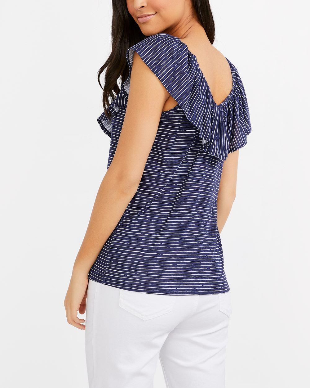 Ruffle V-Neck Striped Top