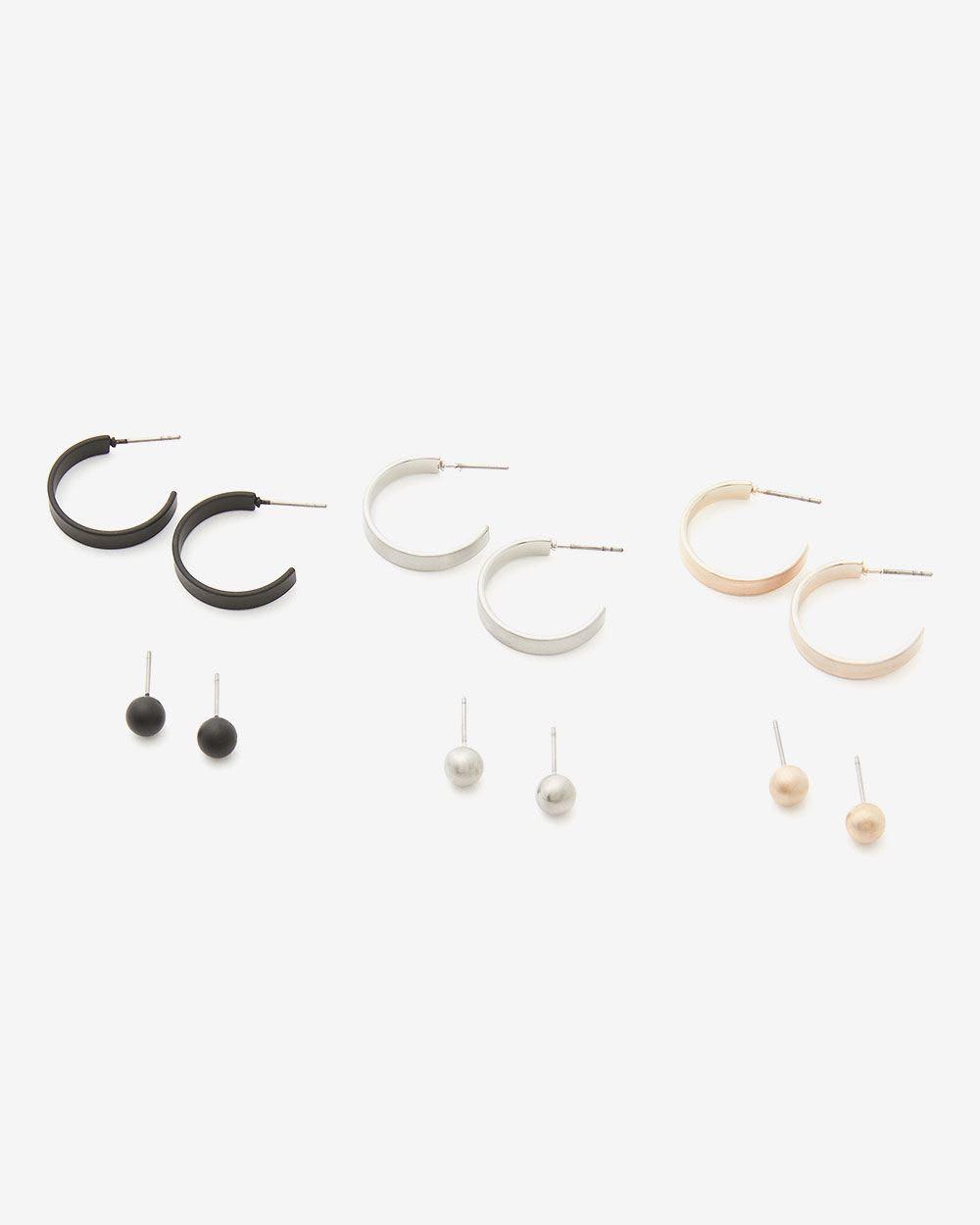Ensemble de 6 paires de boucles d'oreilles variées