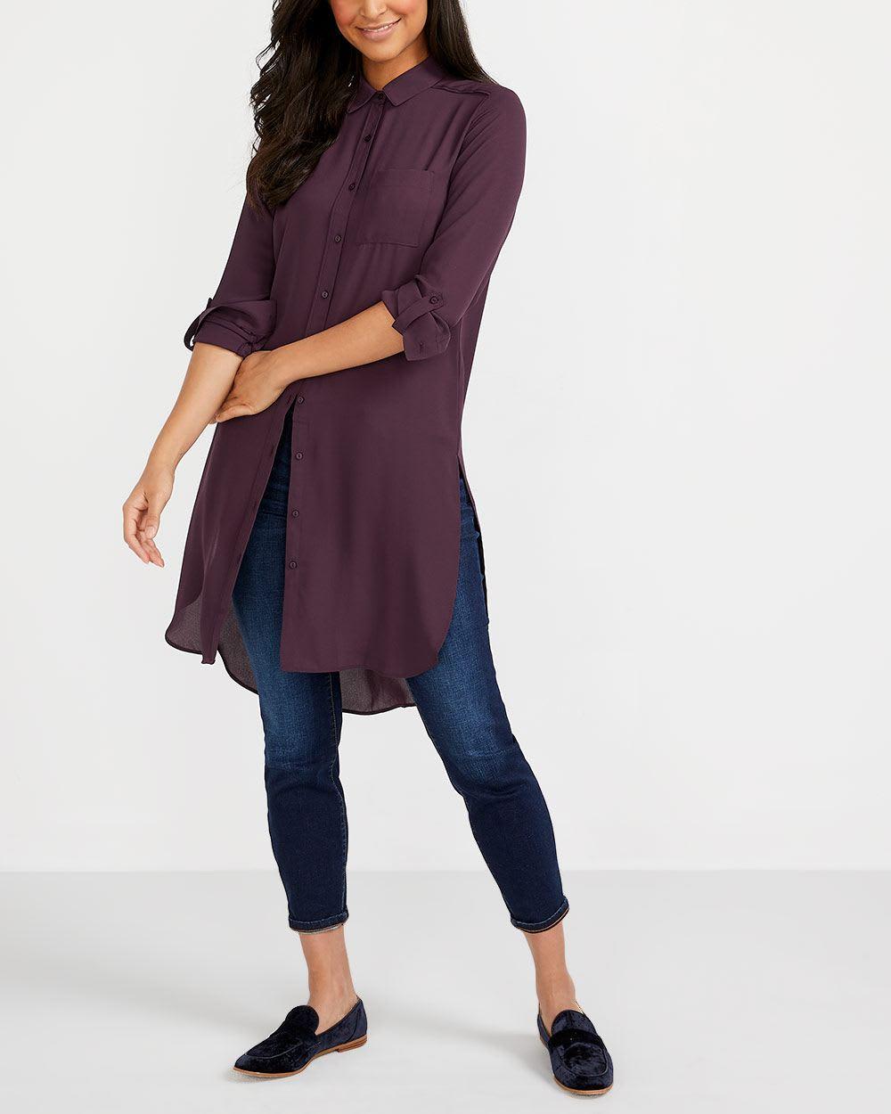 Adjustable Sleeve Tunic Shirt