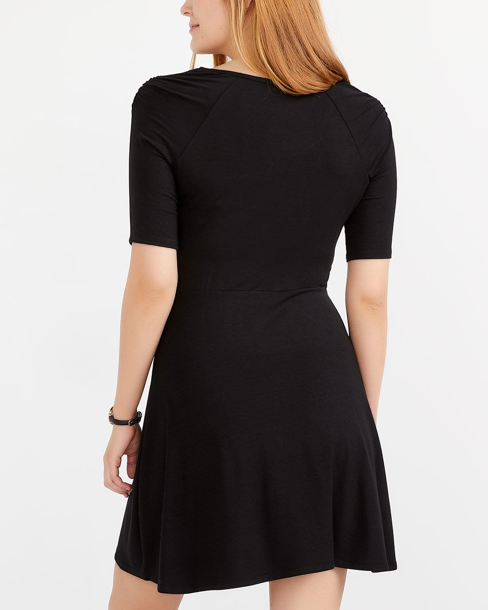 Ruched Raglan ¾ Sleeve Dress