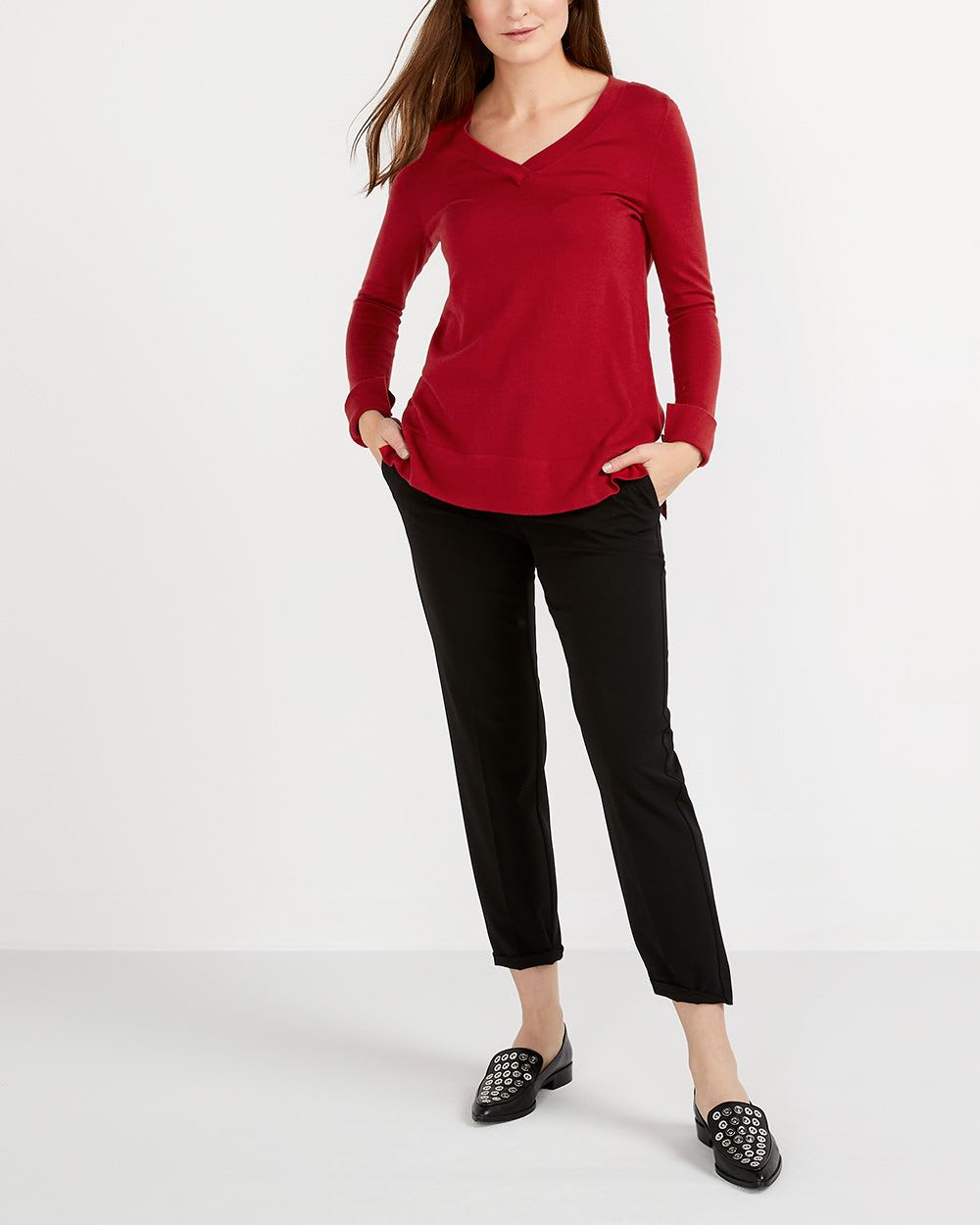 R Essentials Solid V-Neck Sweater