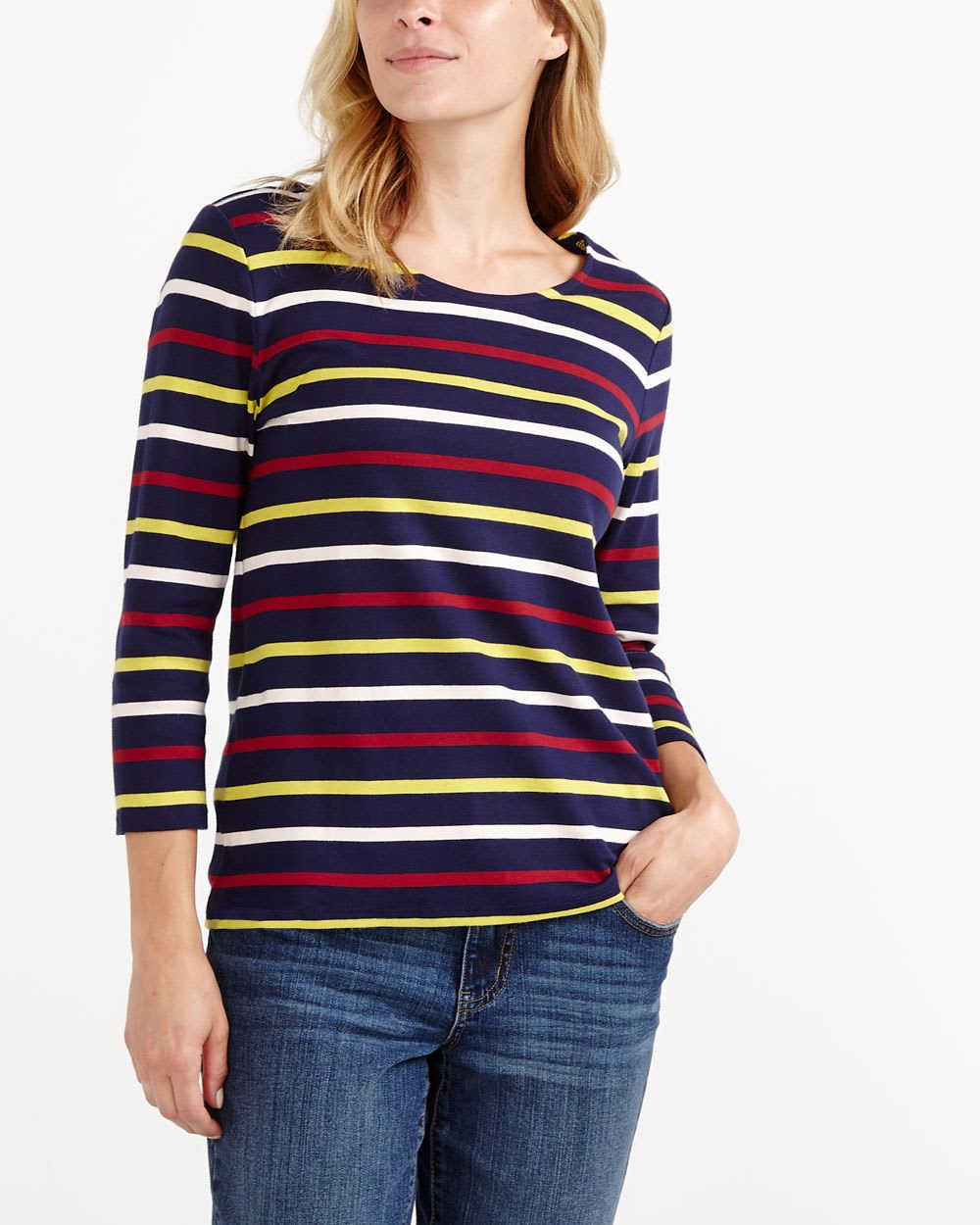 ¾ Sleeve Striped Top