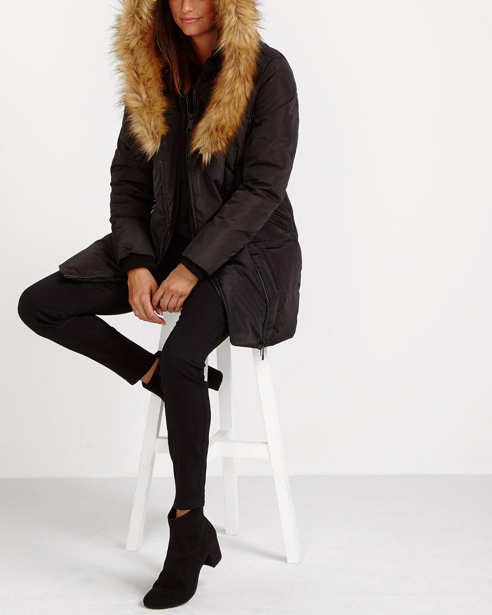 Faux Fur Collar Winter Coat